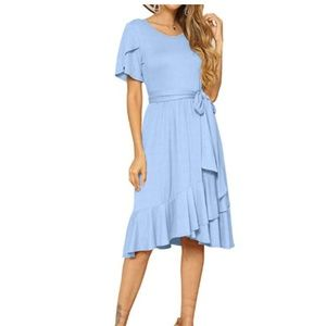 Casual Flowy Short Sleeve Midi Dress with Belt